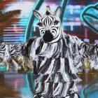Le zèbre du danseur masqué sur ses deux pieds gauches, jetant des coups de poing et conquérant ses peurs