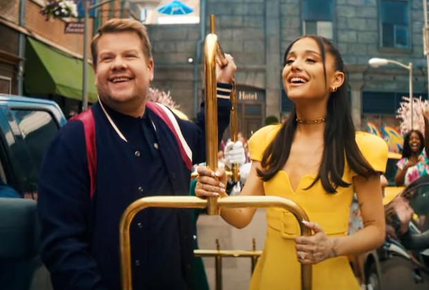 James Corden fait appel à Ariana Grande et Marissa Jaret Winokur pour une parodie de laque pour cheveux « Plus de blocages »
