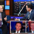 """Colbert Grills Brian Stelter sur la gestion par CNN de Chris et Andrew Cuomo: """"Cela ressemble à un étrange conflit de règles"""""""